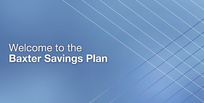 Welcome to the Baxter Savings Plan website in white text with blue background